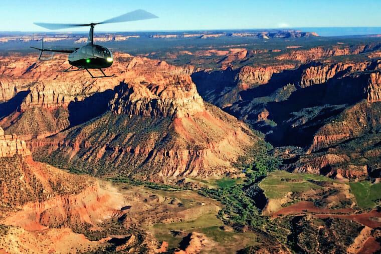 Chopper above Springdale, Utah
